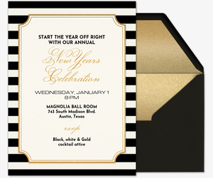 Black White Gold Invitation