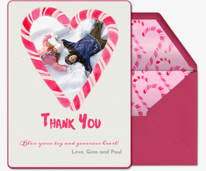 Candy Cane Heart Thanks Card