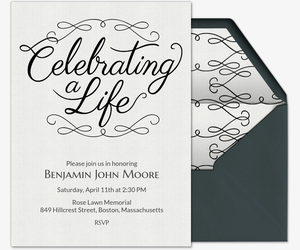 celebrating a life invitation