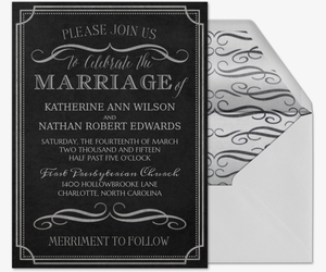 Chalkboard Chic Wedding Invitation