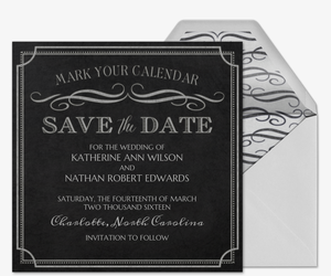 Chalkboard Chic Save the Date Card