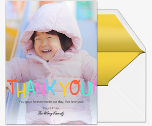 Colorful Thank You Card Invitation