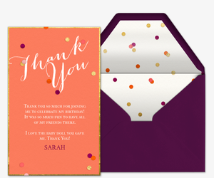 Confetti Thanks Card