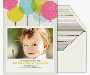 Crayon Balloons Invitation Premium Babys First Countdown