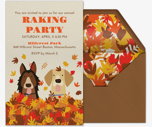 Dog Autumn Leaves Invitation