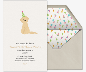 dog party hat invitation