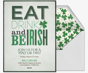 Eat, Drink and Be Irish Invitation