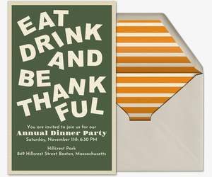 Eat, Drink, and Be Thankful Invitation