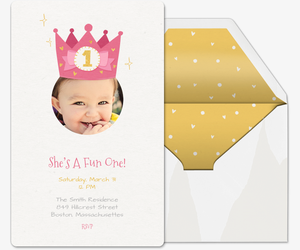 Free babys first birthday invitation evite first birthday crown invitation filmwisefo