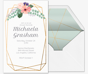 floral geometric bridal shower invitation