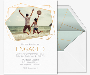 Floral Geometric Engagement Invitation