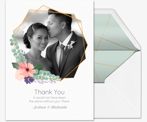 Floral Geometric Thank You Invitation