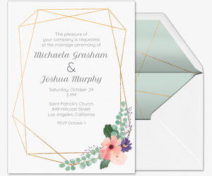 Floral Geometric Wedding Invitation