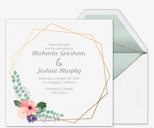 floral geometric save the date invitation