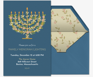 Floral Menorah Invitation Invitation