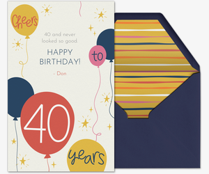 40th Birthday Card Invitation