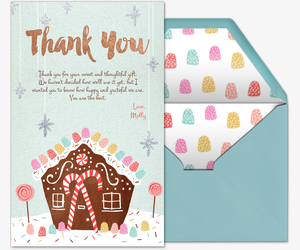 Gingerbread Party Thank you Invitation