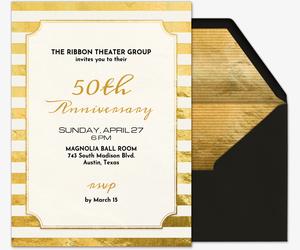 Golden Ticket Invitation Premium 50th Anniversary