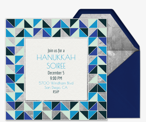 Hanukkah Mosaic Invitation