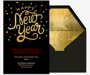 Happy New Year Gold Invitation