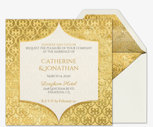 Heart Of Gold Wedding Invitation