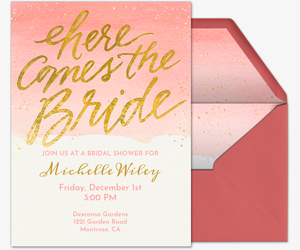 Here Comes the Bride Gold Invitation