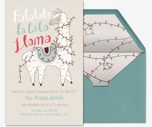 Holiday Llama Invitation