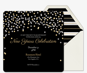 new year flash holiday sparkle black invitation
