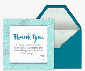 Icy Snowflakes Thank You Invitation