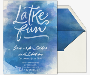 Latke Fun Blue Invitation