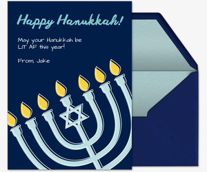 Lit Hannukah Invitation