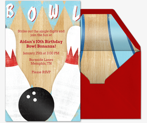 Lucky Strike Invitation Premium Bowling Birthday Candles