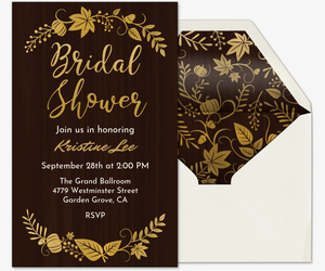 Fall Wedding Bridal Shower Invitation