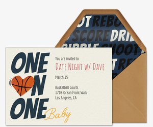 One on One Baby Invitation