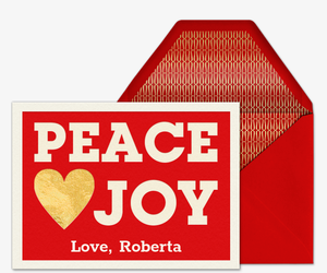 Peace Love Joy Heart Card