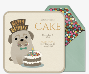 Dog Eating Cake Invitation