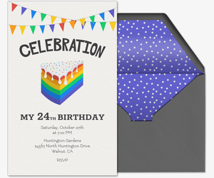 Rainbow Cake Invitation