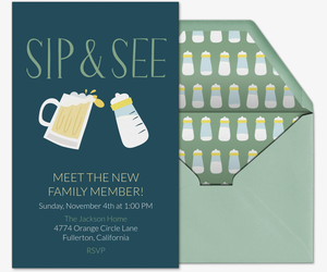 Sip And See Baby Bottles Invitation