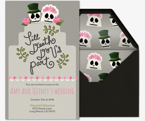 Skulls Wedding Cake Invitation