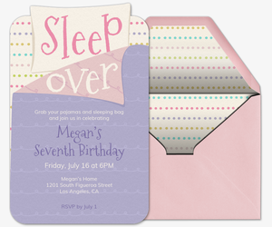 Sleepover Sleeping Bag Invitation