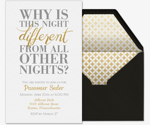Why is This Night Different Invitation