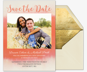 Watercolor Romance Photo Save the Date Card