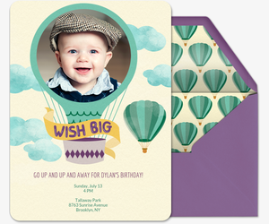 First Birthday Crown Wish Big Invitation
