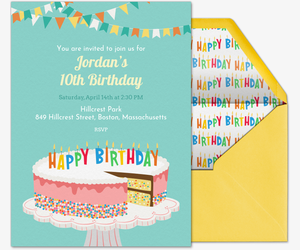 Birthday Cake Sprinkles Invite Invitation
