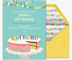 Own Invitation Birthday Cake Sprinkles Invite