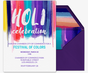 Colorful Holi Celebration Invitation