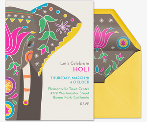 Holi Fest Elephant Invitation