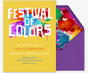 Festival of Colors Invite Invitation