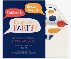 Farewell Speech Bubble Invitation