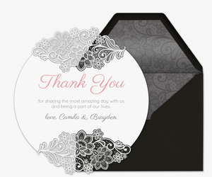 Lace Thank You Card Invitation